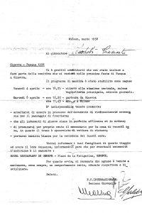 Lettera di convocazione firmata Giuseppe Meazza