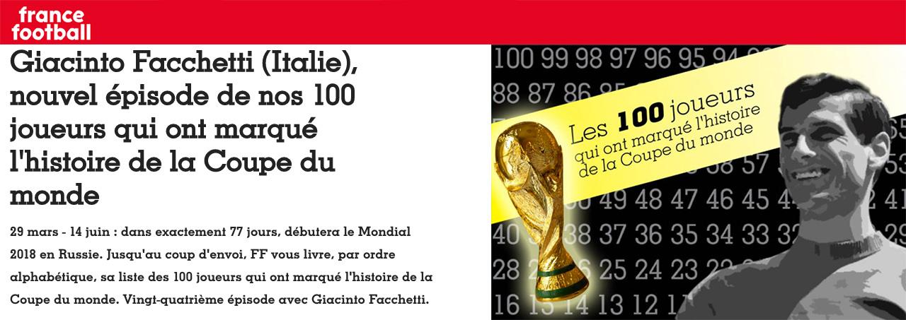 France Football: Facchetti tra i 100 che hanno scritto la storia dei Mondiali